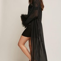 Faux Feather Trim Robe