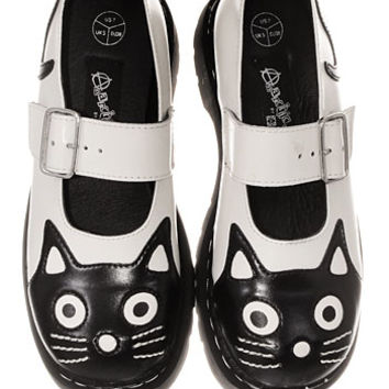 Creeping Cat Mary Jane Shoes in White - PLASTICLAND