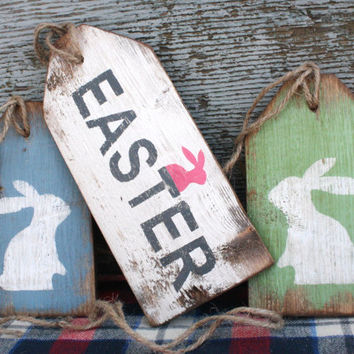 FREE SHIP Easter Bunny Rabbit Rustic Distressed Wood Large Wreath Tag Sign Set