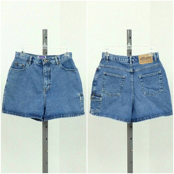 "Vintage 90s High Waisted Denim Shorts, Blue Jean Shorts, High Rise Shorts, Mid Thigh Shorts, High Waist Shorts, Shorts, 28"" Waist"