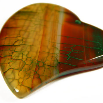 1 Pc - 56x45x5mm Striped Agate Heart Pendant Bead - Focal Bead - Gemstone Bead - Jewelry Supplies