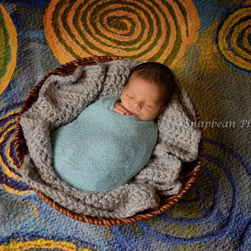 Newborn Photography, Crochet Blanket, Newborn, Baby, Blue, Layering, Blanket, Mini Blanket, Wrap, Baby Wrap, Photo Prop, Photography Prop