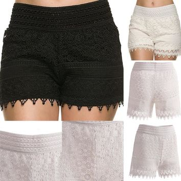 2016 New Summer Woman Sweet Style Lace shorts Crochet Hollow Elastic Waist Slim Skirts