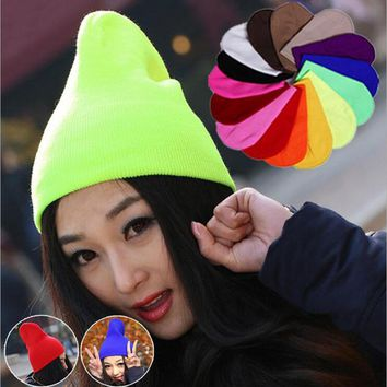 24 Colors! New 2017 Neon Knitted hat Gorro Touca Men women Winter Hat Autumn Sport Beanie Men Warm skullies Casual Cap