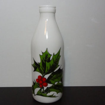Vintage Egizia White Milk Glass Christmas Bottle From Italy with Red and Green Holly Design