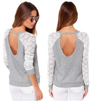 Novelty New 2015  Long Sleeve T Shirt Sexy Lace Crochet T-Shirt Embroidery Knitted Slim Tops Plus Size S-XXXL