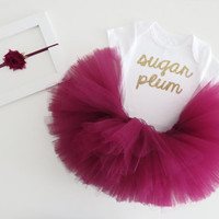 """Baby Girl Christmas Outfit - Gold Cursive """"Sugar Plum"""" Bodysuit, Plum Tutu and Plum Headband With Gold- Complete Baby Holiday Outfit - SALE"""