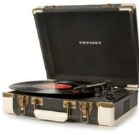 Crosley CR6019A-BK Executive Portable USB Turntable with Software for Ripping & Editing Audio (Black & White)