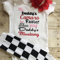 My daddy's mustang is faster than your daddy's Camaro shirt -- Girls outfit shirt or bodysuit, legwarmers and headband