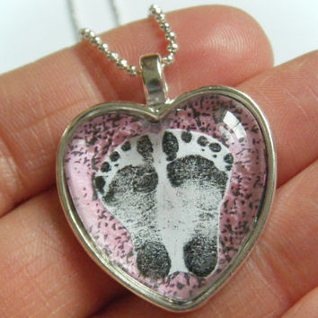 OOAK CUSTOM ORDER Baby's Actual Baby Infant Footprints New born Feet Mother Mom Heart Glass Tile Personalized Keepsake Pendant Necklace
