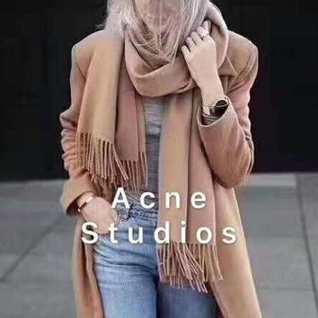 """""""Acne Studios"""" Trending Stylish Personality Cashmere Cape Tassel Scarf Scarves Shawl Accessories"""