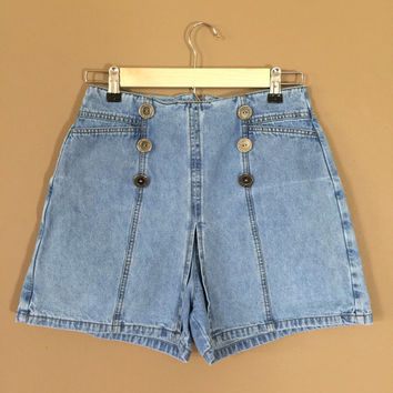 High Waisted Denim Skort / 90s Jean Skort / 90s Skort / Levis High Waisted Denim Shorts / Levis Cutoffs / High Waisted Denim Skirt / 90s