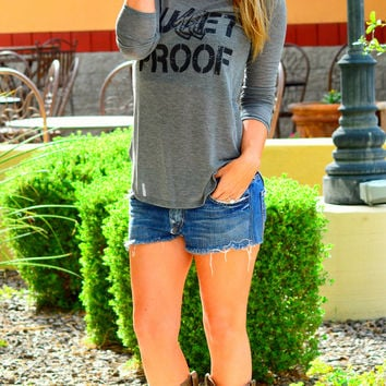 BULLET PROOF LONG SLEEVE TOP IN CHARCOAL