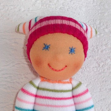 Waldorf Doll, Waldorf baby doll, Sock  doll, Pocket doll, present for a newborn, gift for baby shower, Toddler doll , Cloth doll, Handmade