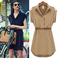 Cuffed Short-Sleeve Collared Chiffon Dress With Belt
