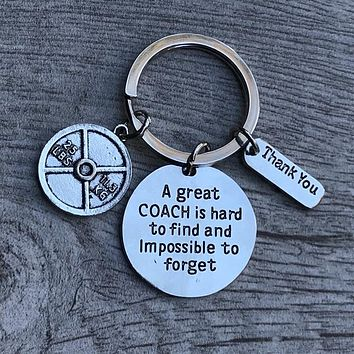 Trainer/Fitness Great Coach Is Hard to Find Keychain