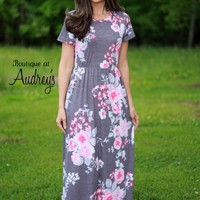 Gray Short Sleeve Maxi Dress with Coral Flower Print