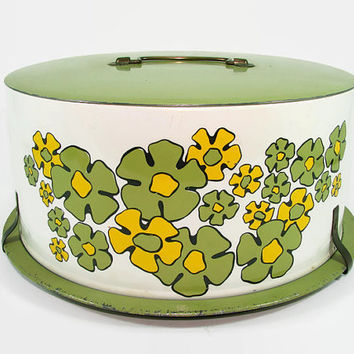 Ballanoff Cake Carrier Green Yellow Floral Metal Cake Server Pie Plate Platter Cup Cake Saver
