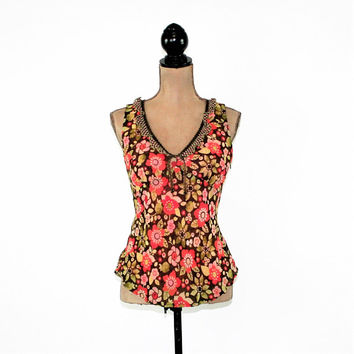 Sleeveless Summer Top Women Floral Chiffon Empire Waist Medium Petite V Neck Size 10 Blouse Sigrid Olsen Vintage Clothing Womens Clothing