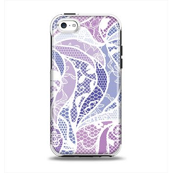 The Purple and White Lace Design Apple iPhone 5c Otterbox Symmetry Case Skin Set