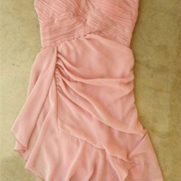 Lovely Short Strapless with Ruched Bodice Chiffon Prom Dress PD1947