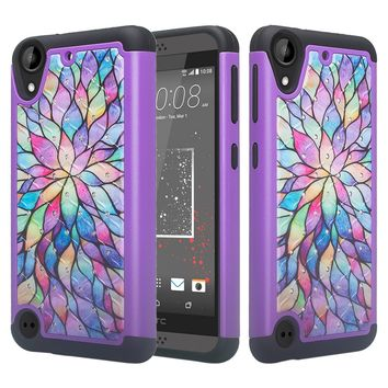HTC Desire 555 Case, Slim Hybrid Crystal Rhinestone Dual Layer [Shock Resistant] Protective Cover for Desire 555 - Rainbow Flower