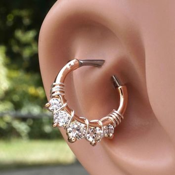 Rose Gold Crystal Daith Rook Clicker Hoop