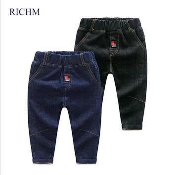 RICHM New Winter Casual Baby Boys Jean Pure Cotton Denim Solid Color Children Clothing Kids Trousers Boy's Trouser Child Clothes