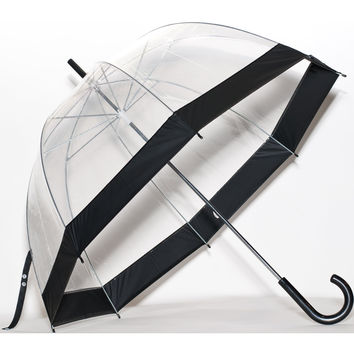 Elite Rain Umbrella Clear Classic Bubble Umbrella Black Trim Large