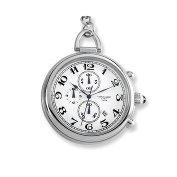Charles Hubert Solid Stainless Steel White Dial Pocket Watch
