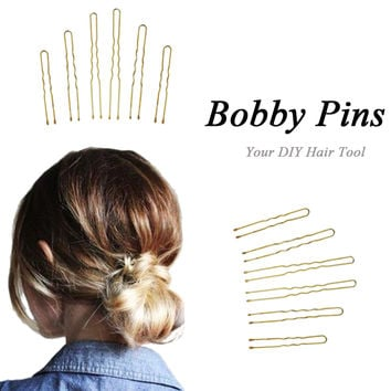 Bobby Pins 300Pcs Golden Thin U Shape Bobby Pins Hairpins Women Hair Clips for Beauty Hair Styling 3 Size SM6