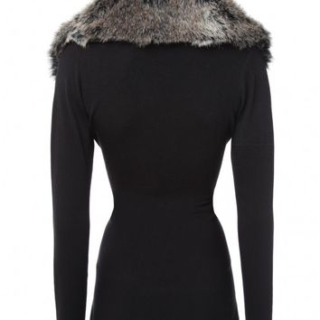 Faux Fur collar Waterfall cardigan | Jane Norman