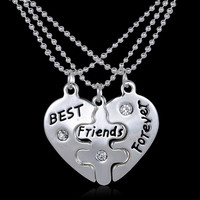 3 Piece Best Friends BFF Vintage Puzzle Pendant Friendship Necklace
