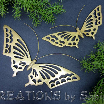 Brass Butterflies Moths Wall Hanging Decor, Set of 2, Gold Butterfly Moth Insect, Filigree Home Decorative Retro Vintage FREE SHIPPING (176)