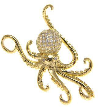 YELLOW GOLD PLATED SOLID 925 STERLING SILVER HAWAIIAN OCTOPUS SLIDE PENDANT CZ 29MM