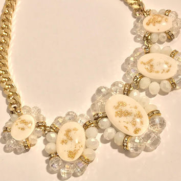 Vtg Chunky Glass Bib Statement Necklace / White Gold and Clear Beads, Gold Tone Chain / Old Hollywood Style Glamour Costume Jewelry / Gifts