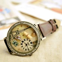 MINI Vintage Waterproof Rhinestone Eiffel Tower Watch