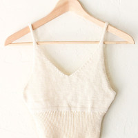 Sweater Knit Crop Top - Ivory