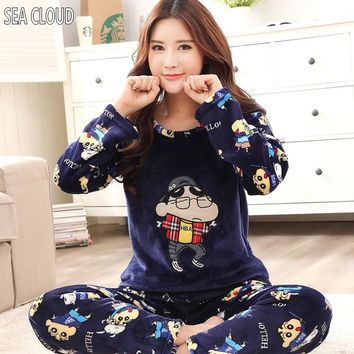 Free shipping Winter plus size thickening flannel sleepwear female set coral fleece Pajama Sets for 100 kg