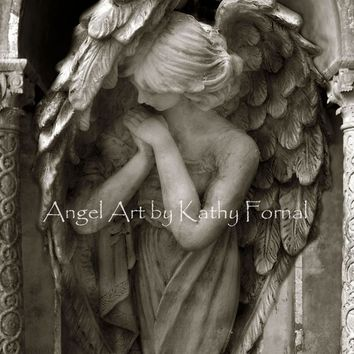 Angel Art Photography, Angel In Prayer, Guardian Angel Art, Peaceful Praying Angel Print, Spiritual Angel Art Photo Prints or Note Cards