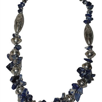 Morocan Jewerly Berber Necklace Arabic Blue Stones With Silver Beads