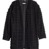 H&M - Pattern-knit Cardigan - Black - Ladies