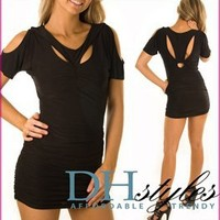 True-Light-10284-Black Racerback Cold Shoulder Cut-out Dress