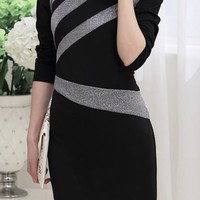 Black Long Sleeve Bodycon Zippered Dress