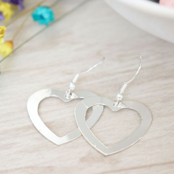 Open Heart Drop Earrings - Silver