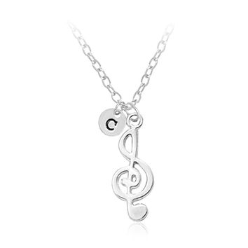 26 Letters Delicate Musical Note Pendant Necklace Women Love Music Rhythm Note Symbol Charm Alloy Choker Necklaces