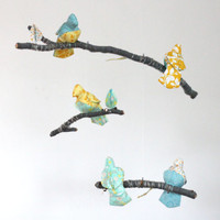 Baby Bird Mobile As Seen on Martha Stewart Living - Nursery Decor - fabric sculpture in sunshine yellow, turquoise, tiffany blue, and gray