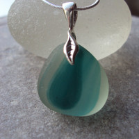 Mint Green Multi Sea glass Pendant Necklace With by SeaGlassFinds