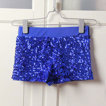 fashion show stage clothing hip-hop nightclub sexy package hip black gold silver sequins low-waist shorts female Blue Rose K14