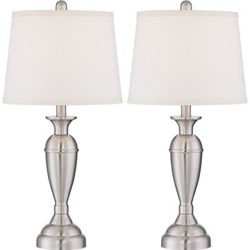 Blair Brushed Steel Metal Table Lamp Set of 2